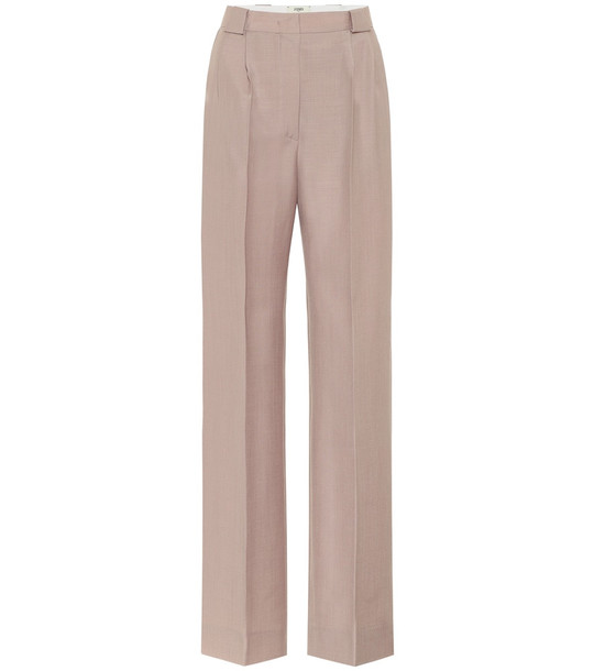 Fendi High-rise mohair and wool pants in beige