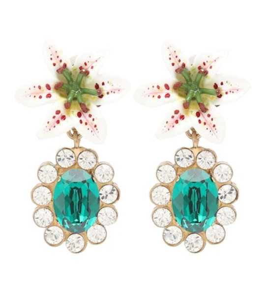 Dolce & Gabbana Embellished floral clip-on earrings in green
