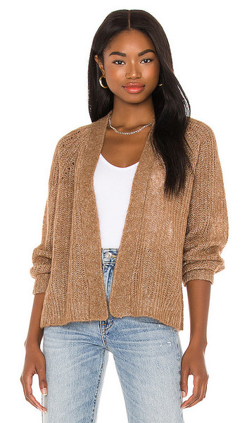 360CASHMERE Ines Cashmere Cardigan in Tan in camel