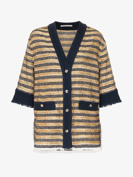 Alessandra Rich button-down knitted shirt jacket in black / gold
