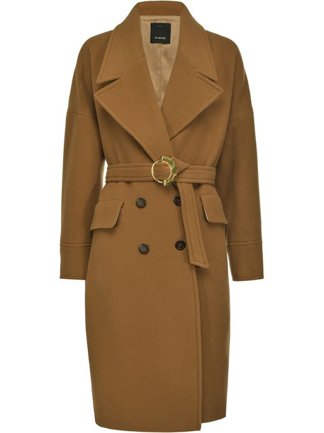 Pinko belted double-breasted coat in brown