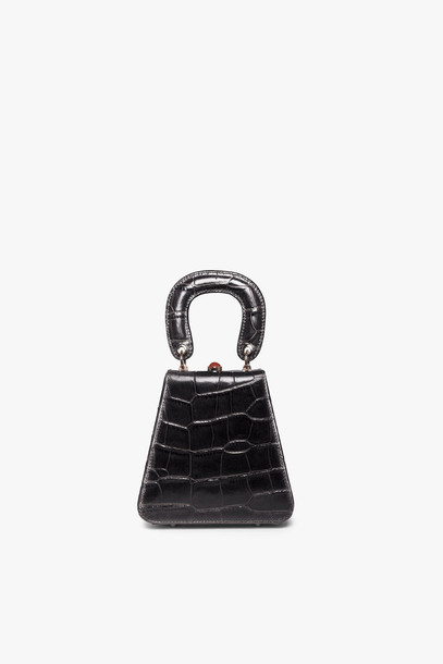 Staud KENNY BAG | BLACK CROC EMBOSSED