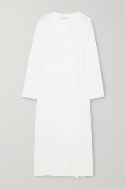 LE 17 SEPTEMBRE - Belted Wrap-effect Crinkled Habotai Midi Dress - White