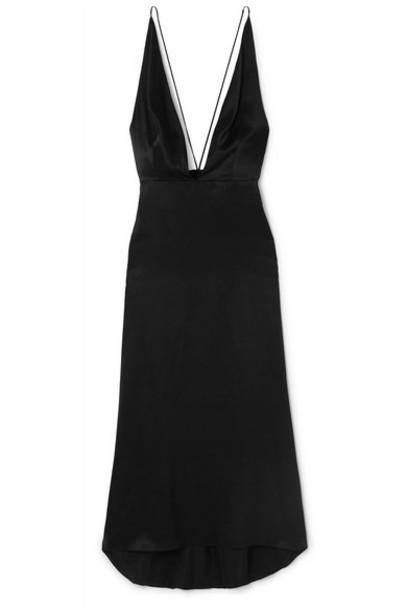 MATÉRIEL - Open-back Silk-satin Midi Dress - Black