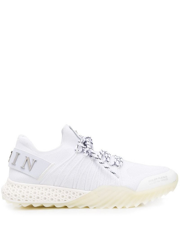 Philipp Plein ribbed low-top sneakers in white