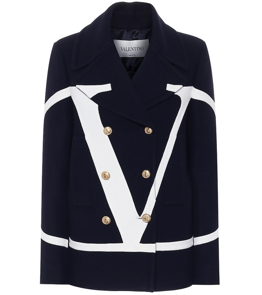 Valentino VLOGO wool coat in blue