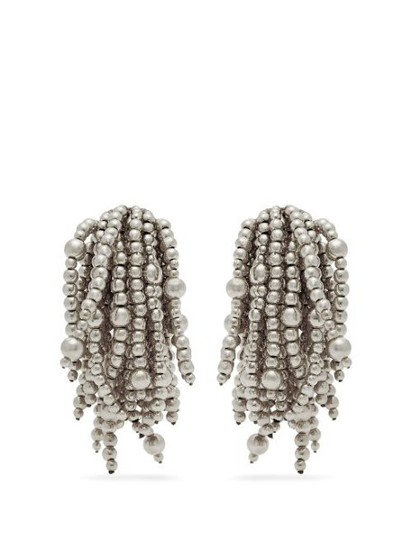 Vanda Jacintho - Shower Bead Clip Earrings - Womens - Silver