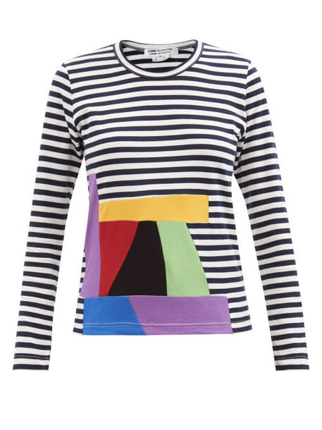 Comme Des Garçons Comme Des Garçons - Abstract-print Striped Cotton Long-sleeved T-shirt - Womens - Navy Multi