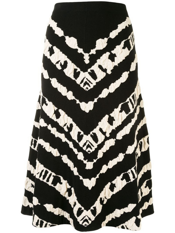 Proenza Schouler White Label jacquard-pattern mid-length skirt in black