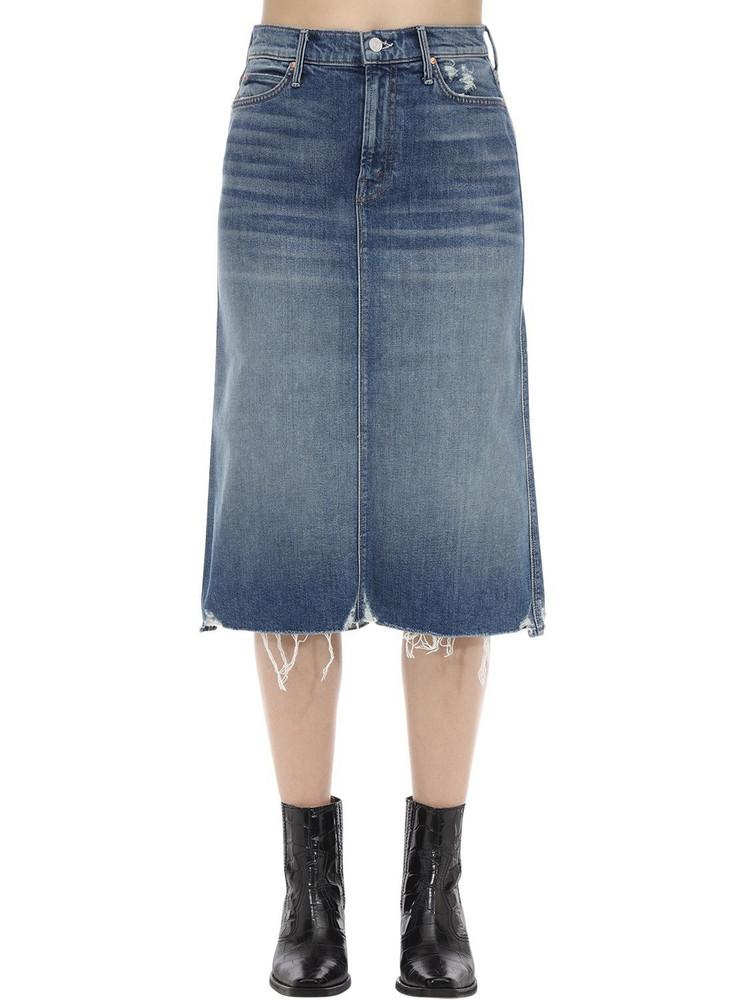 MOTHER Cotton Denim Midi Skirt in blue