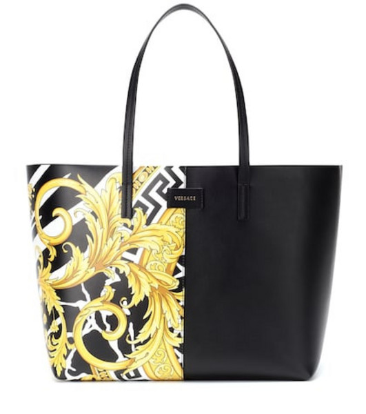 Versace Medusa printed leather tote in black