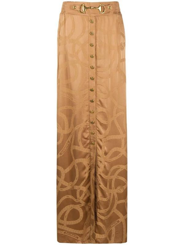 Balmain chain logo jacquard skirt in neutrals