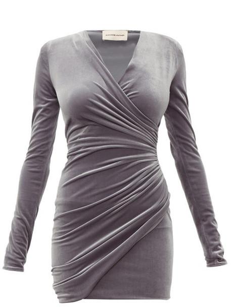 Alexandre Vauthier - Draped Wrap Style Velvet Mini Dress - Womens - Grey