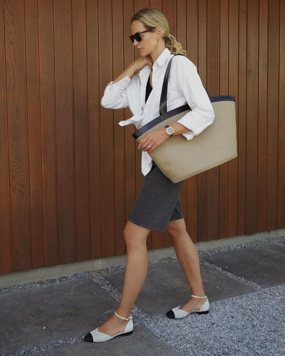 bag shoulder bag ballet flats black shorts denim shorts white shirt