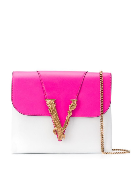 Versace Virtus colour-block leather clutch in white