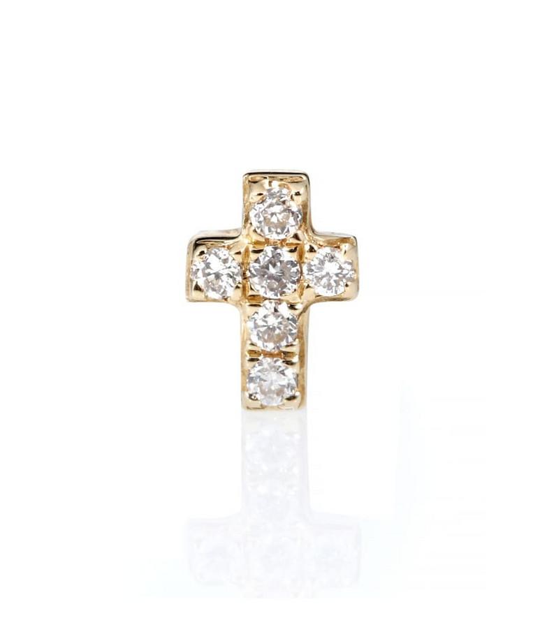 Sydney Evan Tiny Cross 14kt gold and diamonds earring