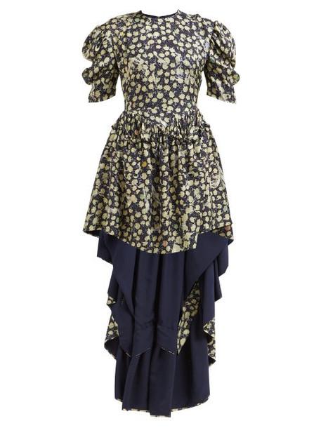 Preen By Thornton Bregazzi - Sammie High Low Hem Silk Blend Dress - Womens - Navy Print