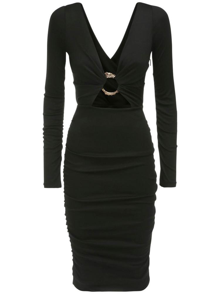 ROBERTO CAVALLI Ruched Wool Dress W/ Metal Buckle in black