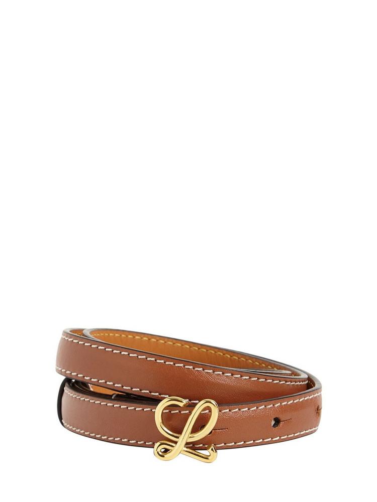 LOEWE 1.5cm Leather Logo Belt in tan