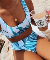 swimwear,blue,white,tropical,bikini,high waisted,high waisted swimwear,high waisted bikini,summer,summer outfits
