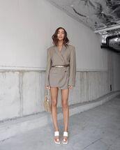 jacket,blazer,oversized,white sandals,handbag