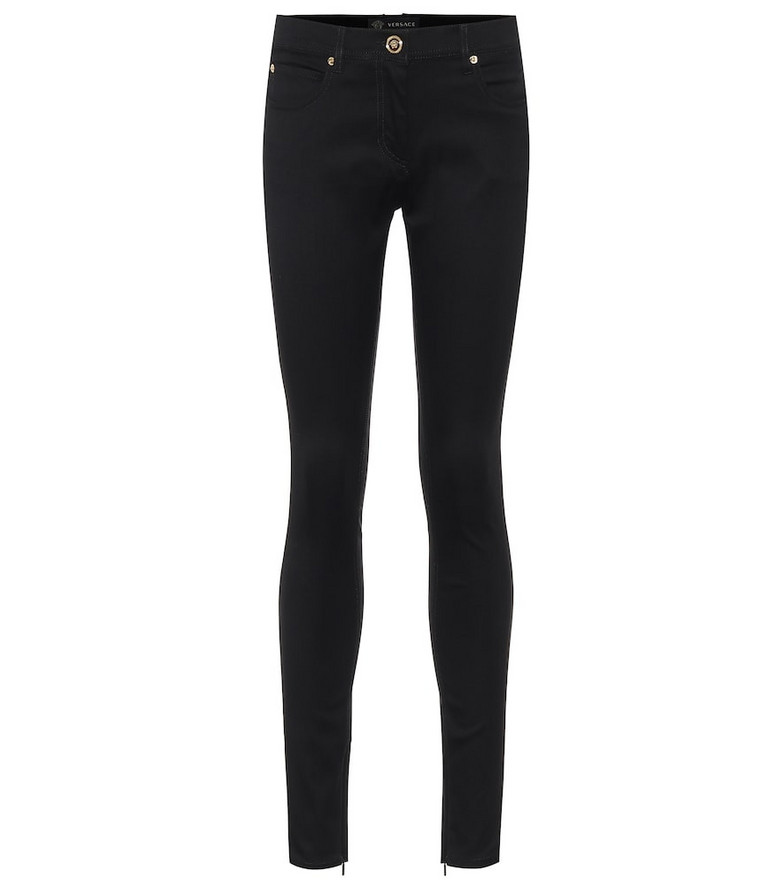 Versace Stretch-cotton skinny jeans in black