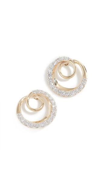 Adina Reyter 14k Pavé Swirl Post Earrings in gold / yellow