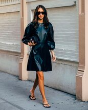 dress,black dress,leather dress,long sleeve dress,flat sandals,black bag