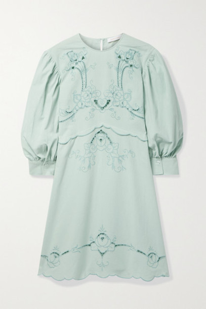 See By Chloé See By Chloé - Broderie Anglaise Cotton Mini Dress - Jade