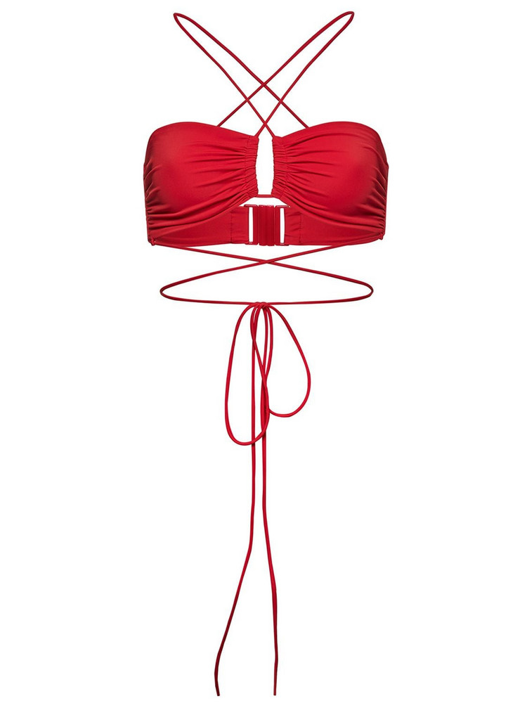 MAGDA BUTRYM Crisscross Bandeau Bikini Top in red