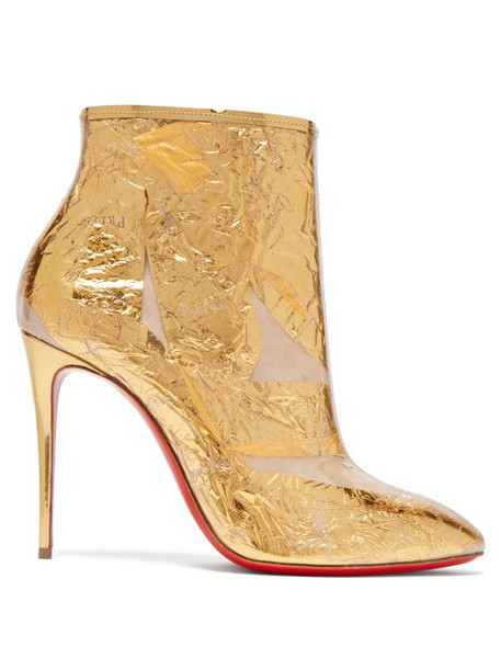 Christian Louboutin - Booty Cap 100 Creased Foil Perspex Ankle Boots - Womens - Gold