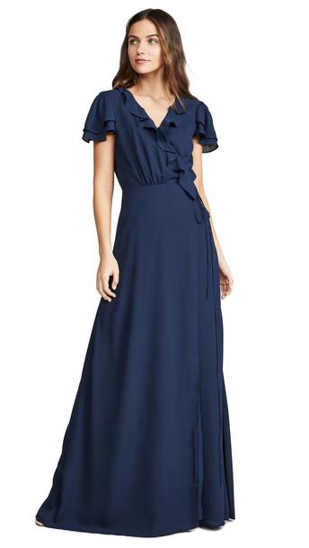 WAYF Evaline Dress in navy