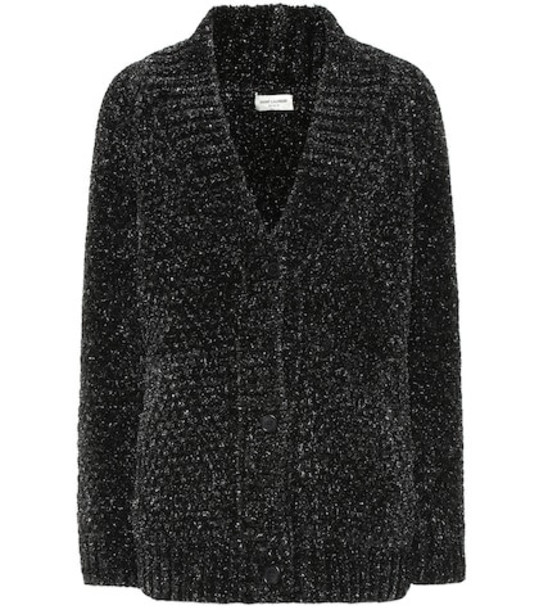 Saint Laurent Lurex® knit cardigan in black