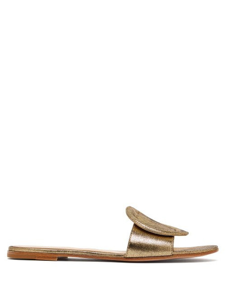 Gianvito Rossi - Rounded Buckle Metallic Leather Slides - Womens - Gold