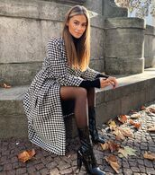 coat,long coat,houndstooth,black boots,patent boots,tight,black turtleneck top