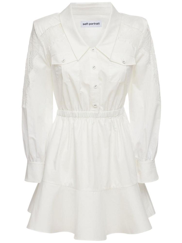 SELF-PORTRAIT Lace Panel Organic Cotton Mini Dress in white
