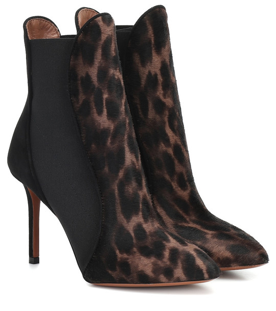 Alaïa Leopard-print calf hair ankle boots in black