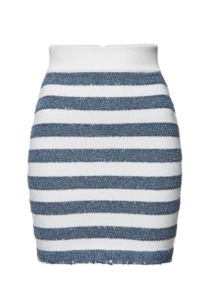 Balmain Striped Mini Skirt with Sequins