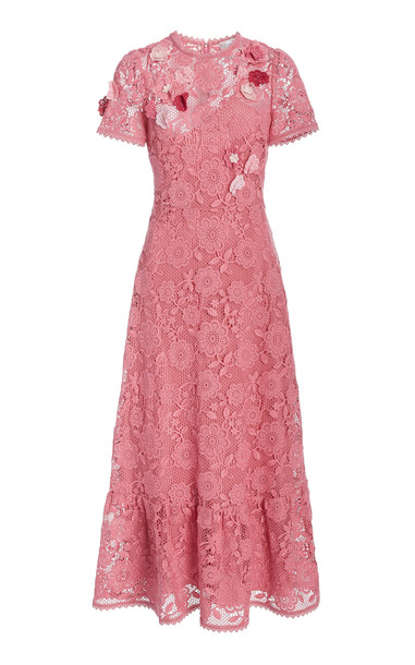 Red Valentino Lace Midi Dress in pink