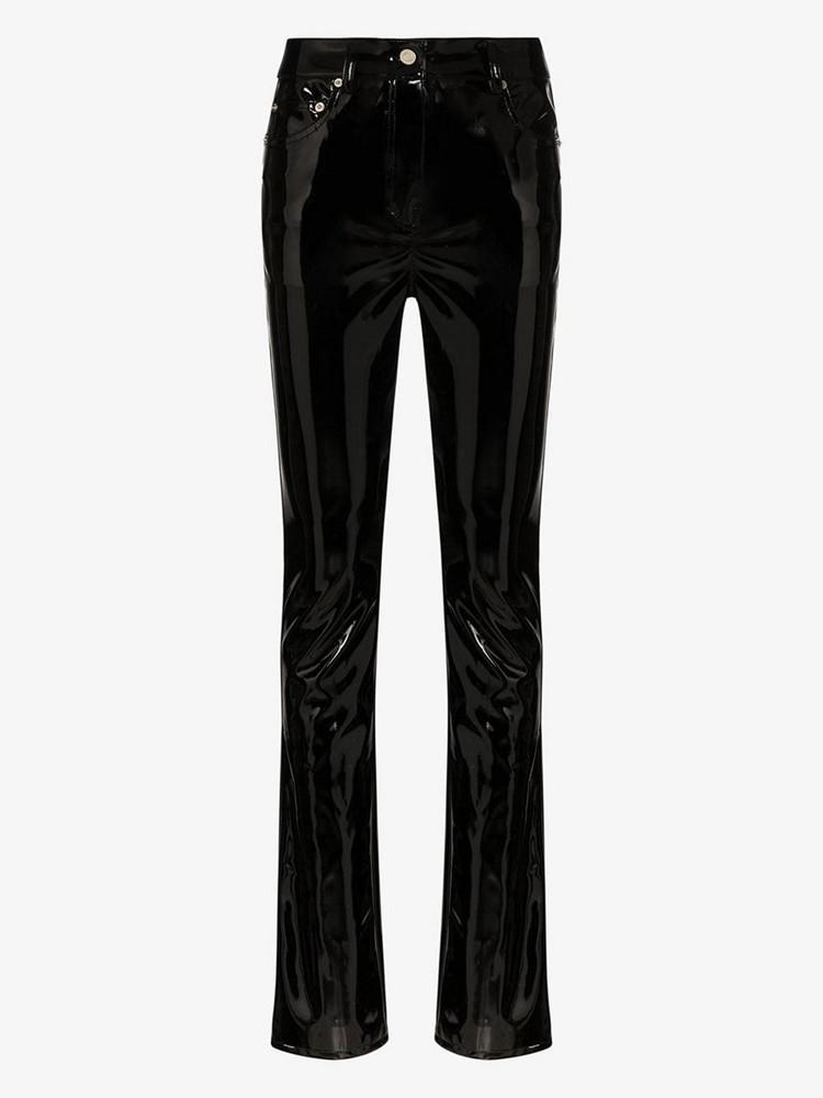 We11done straight leg enamel trousers in black