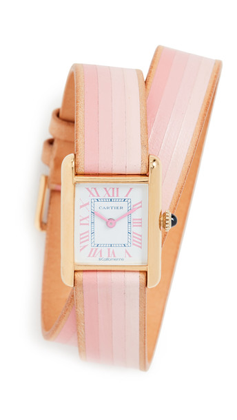 La Californienne Cartier Tank Small Double Strap Watch in navy / pink
