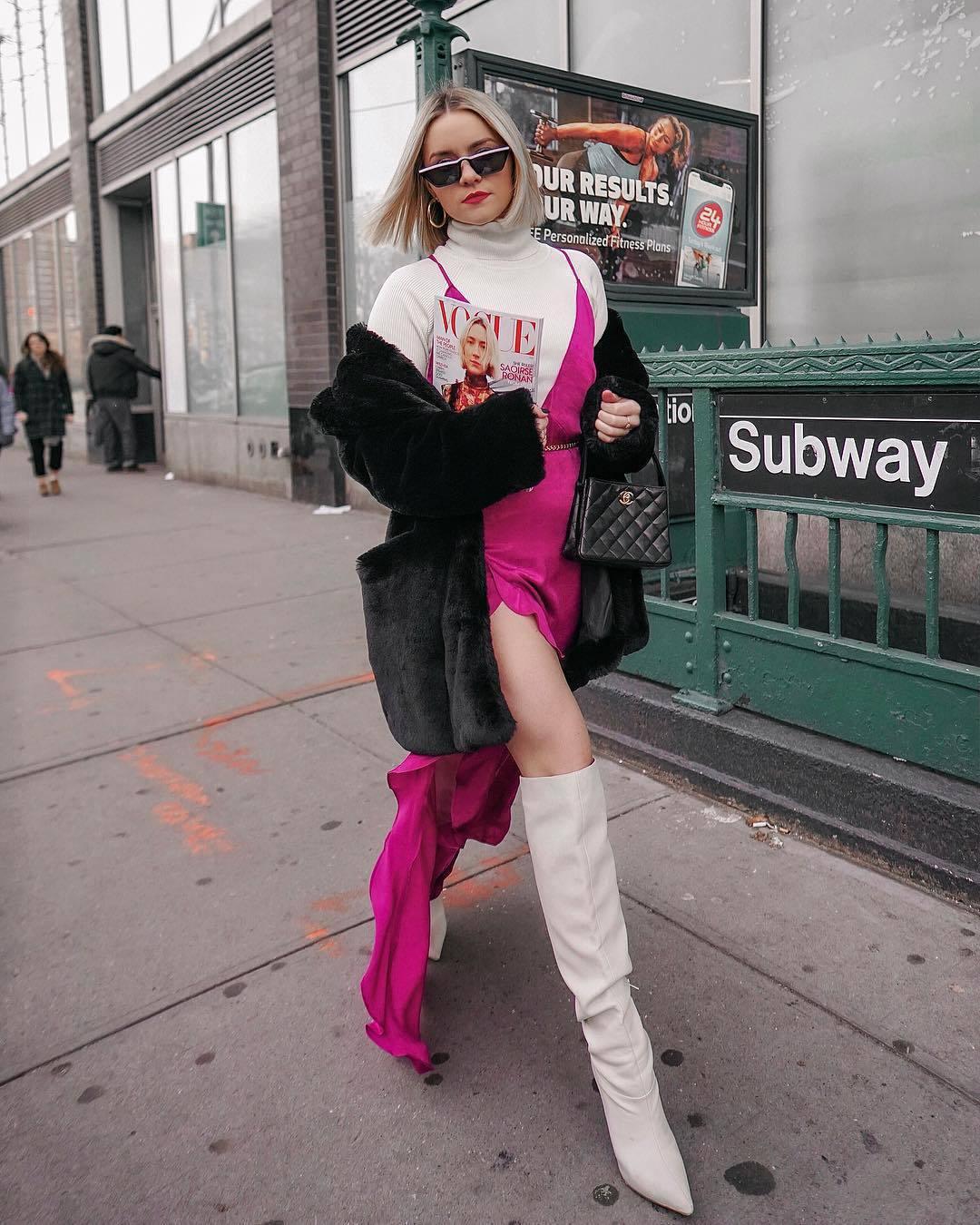 dress slit dress pink dress knee high boots high heels boots white boots white turtleneck top black coat faux fur coat chanel bag