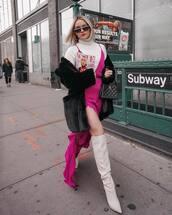 dress,slit dress,pink dress,knee high boots,high heels boots,white boots,white turtleneck top,black coat,faux fur coat,chanel bag,heel boots