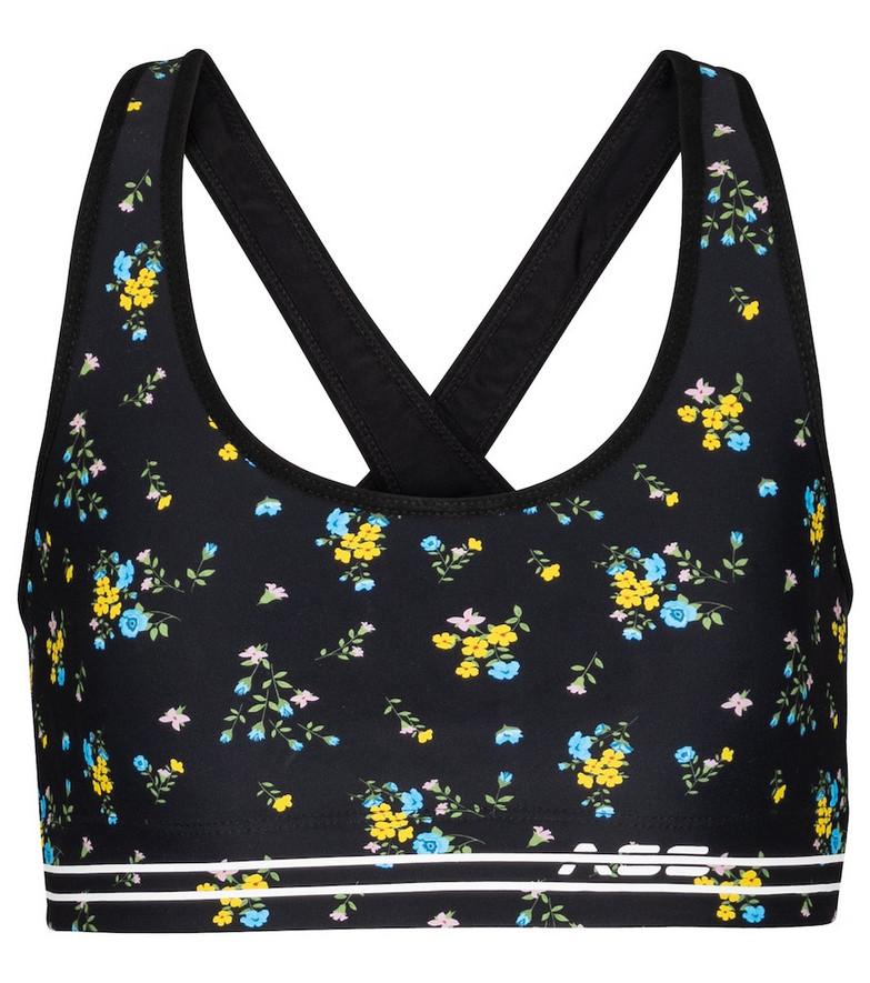 Adam Selman Sport Cross-Back floral sports bra in black