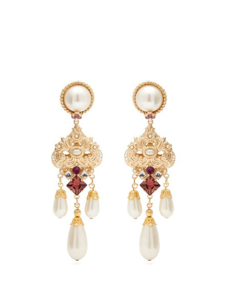Dolce & Gabbana - Crystal And Faux Pearl Drop Clip Earrings - Womens - Purple