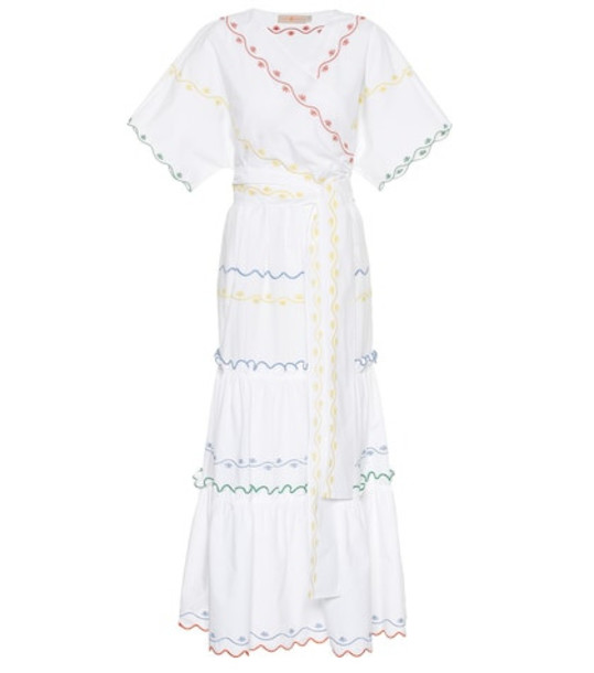 Tory Burch Embroidered cotton wrap dress in white