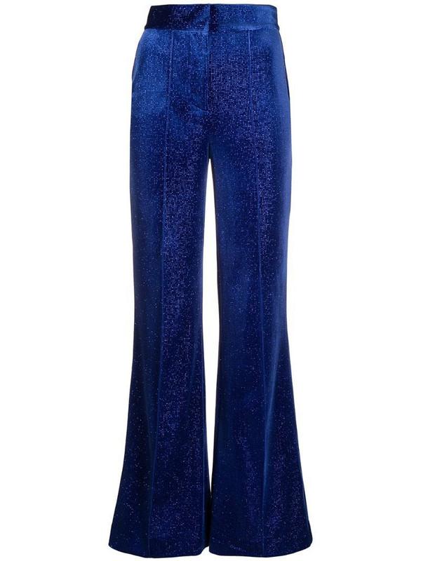 Alice McCall velvet-sparkle flared trousers in blue