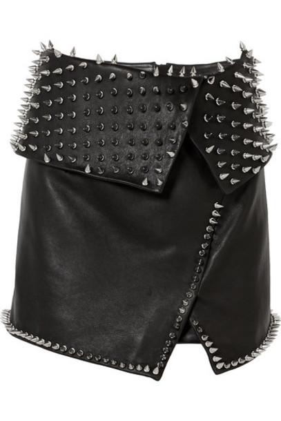 Balmain - Wrap-effect Studded Leather Mini Skirt - Black