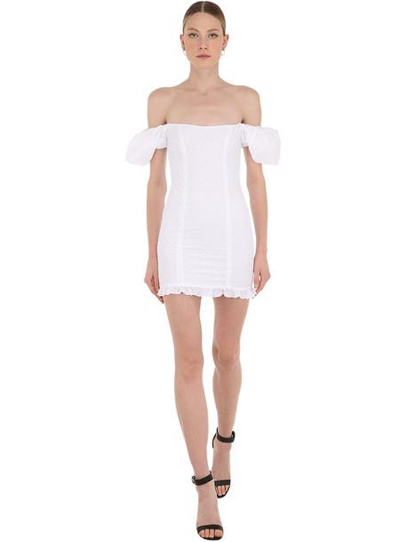 DE LA VALI Koko Off-the-shoulder Cotton Mini Dress in white