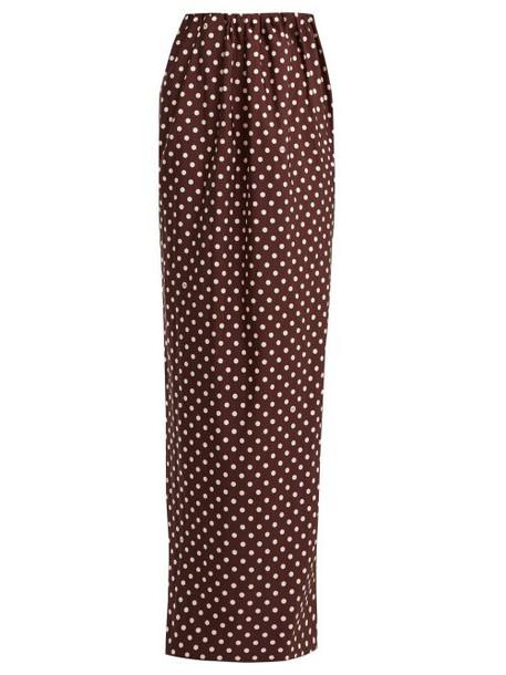 Calvin Klein 205w39nyc - Poly Faille Polka Dot Print Maxi Skirt - Womens - Brown White
